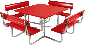 4 Foot Picnic Table - Red